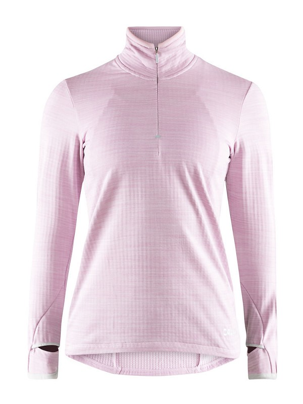 Craft 2nd layer W Grid halfzip light pink